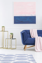 Pink and blue apartment interior