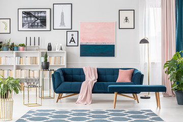 Blue elegant living room interior