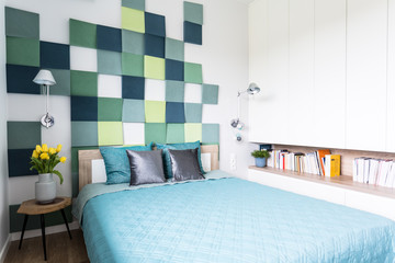 Blue and green bedroom interior