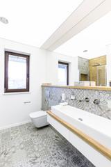 Window in bright bathroom interior