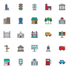 City filled outline icons set, line vector symbol collection, linear colorful pictogram pack. Signs, logo illustration, Set includes icons as skyscraper building construction, traffic light signal