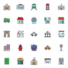 City landmarks filled outline icons set, line vector symbol collection, linear colorful pictogram pack. Signs logo illustration, Set includes icons as mosque palace, shopping mall, school, barbershop