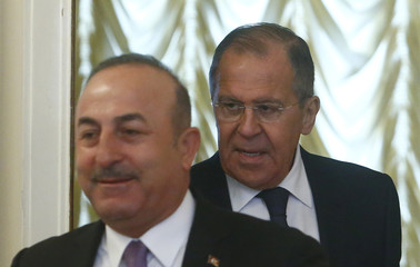 Russia's Foreign Minister Sergei Lavrov meets with his Turkish counterpart Mevlut Cavusoglu in Moscow