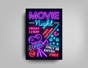 Movie Night poster design template in neon style. Neon Sign, Light Banner, Bright Flyer, Design Postcard, Promotional Brochure, Neon Night Cinema Advertising, Night Session. Vector Illustrations