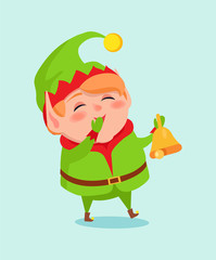 Cartoon Elf Close Mouth by Hand in Mittens Vector