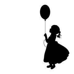 Silhouette girl holiday hand balloon