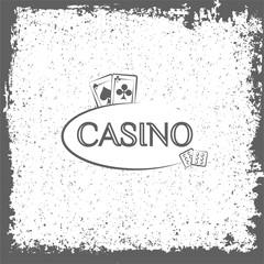 Casino label. Playing cards.  illustration.