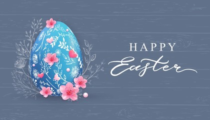 Happy Easter banner with hand drawn flowers, egg on wood background.