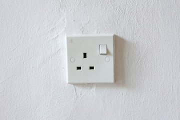 White wall socket on wall, unplug or plugged in concept.Vertical power electric plug outlet.