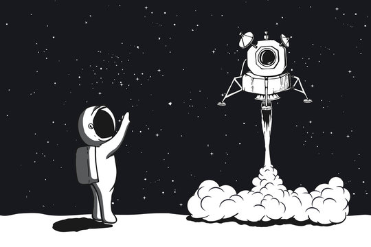 Lunar module launch,landing on Moon.Astronaut welcomes their.Space vector illustration