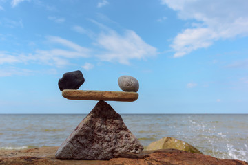 Well-balance of stones on the coast