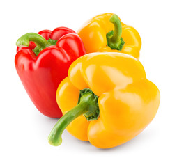 Peppers. Paprika. Bell pepper. Sweet pepper isolated on white. With clipping path. Full depth of field.