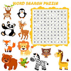 Word search puzzle. Vector education game for children. Animals