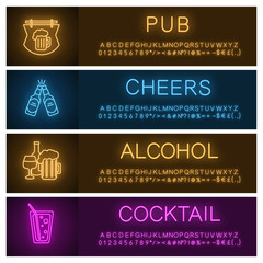 Alcohol neon light banner templates set
