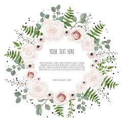 Floral card design with pink, creamy white garden rose. Vector luxury elegant greeting, invite, postcard