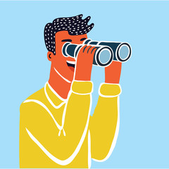 Businessman character looking through spy-glass. Businessman looking telescope. Vector concept.