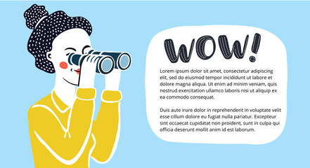 Vector cartoon funny illustration of woman looking through binoculars