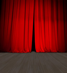 theater red curtain slightly open and wood stage or scene
