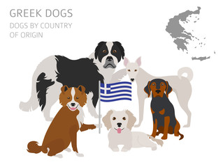 Dogs by country of origin. Greek dog breeds. Infographic template