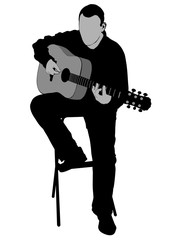 Musician with acoustic guirar on white background