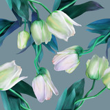 Tulips seamless pattern. Watercolor  illustration. Spring backgraund.