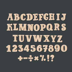 Comic Wood Alphabet Illustration of a set of wooden comic ABC letters and font characters also containing punctuation symbols