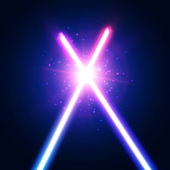 Abstract background with two crossed light neon swords fight. Crossing laser sabers war. Glowing rays in space. Battle with star, flash and particles. Club logo or emblem. Colorful vector illustration