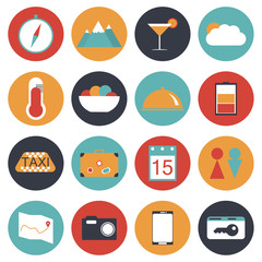 16 travel icon set flat style