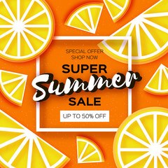 Lemon Super Summer Sale Banner in paper cut style. Origami juicy ripe limon citrus slices. Healthy food on orange. Square frame for text. Summertime.