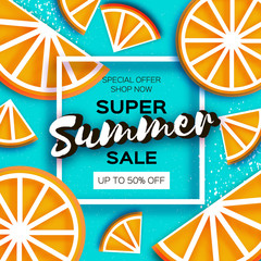 Orange Super Summer Sale Banner in paper cut style. Origami juicy ripe mandarin citrus slices. Healthy food on blue. Square frame for text. Summertime.
