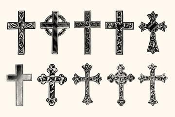Christian Cross Vintage Line Art - Early 1800s Engraving