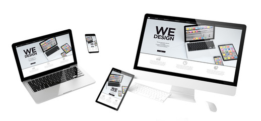 Wall Mural - flying devices we design responsive website