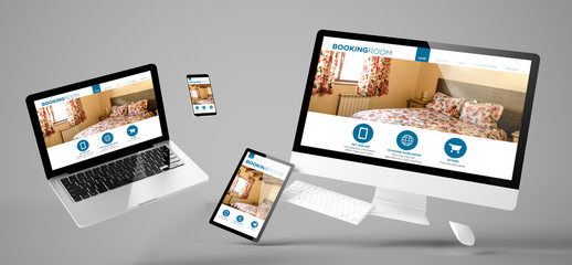 Wall Mural - flying devices booking room responsive website