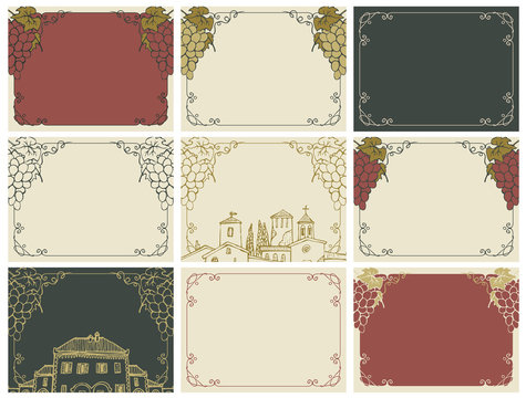 Vector set of labels or cards with frames, vines, bunches of grapes and old european buildings in retro style. Background for text with vines.