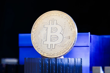Image of virtual currency, bitcoin and processor on blue background