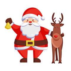 Santa Claus and Reindeer Icon Vector illustration