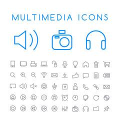 Set of 50 Minimal Thin Line Multimedia Icons on White Background . Isolated Vector Elements