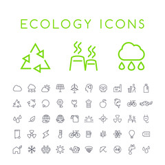 Set of 50 Minimal Thin Line Ecology Icons on White Background . Isolated Vector Elements