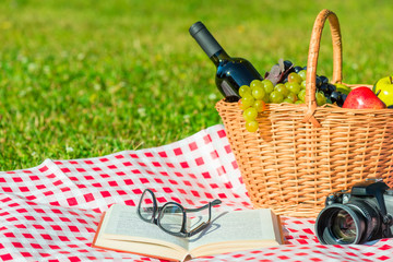 objects on a green lawn - a picnic, a romantic meeting in nature
