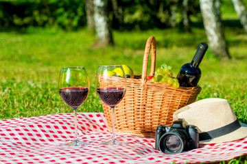 on a tablecloth in the park picnic facilities - a basket of food, a bottle of wine, a camera and a hat