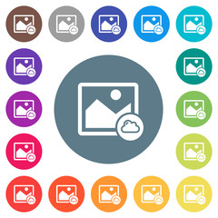Cloud image flat white icons on round color backgrounds