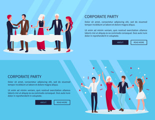 Web Page Corporate Party on Vector Illustration