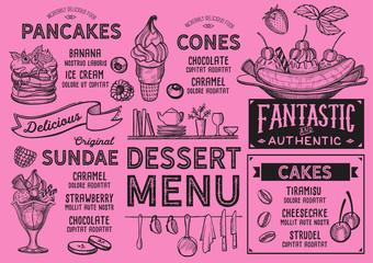 Dessert restaurant menu. Vector food flyer for bar and cafe. Design template with vintage hand-drawn illustrations.