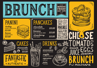 Brunch restaurant menu. Vector food flyer for bar and cafe. Design template with vintage hand-drawn illustrations.