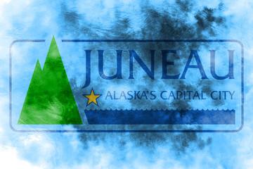 Juneau city smoke flag, Alaska State, United States Of America