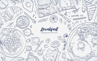 Monochrome horizontal banner with various healthy morning food and breakfast meals hand drawn with contour lines on white background - fried eggs with bacon, toasts, waffles. Vector illustration.