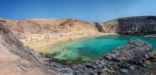 Panorama of Papagayo beach near Playa Blanca, in Lanzarote, Canary Islands, Spain