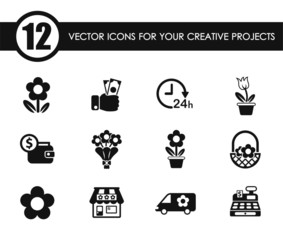 flower shop vector icons for your creative ideas
