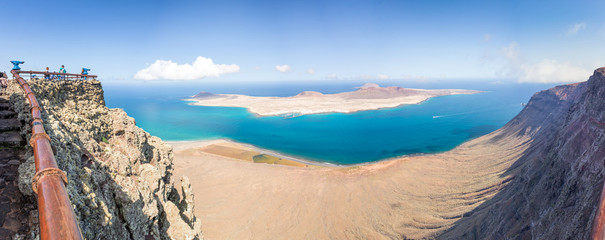 Panorama of La Graciosa island, aerial view from Mirador del Rio in Lanzarote, Canary islands, Spain