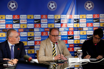 Chairman of the FIFA monitoring committee for the Hellenic Football Federation Huebel addresses journalists during a news conference
